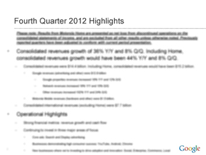 2012 4Q Earnings Google Slide 2